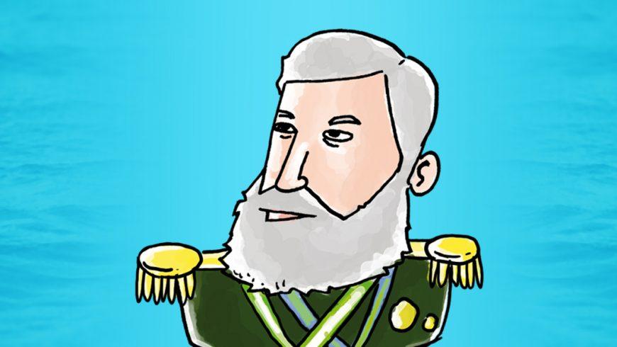 Ilustração. Fundo azul. Ao centro, um desenho de Almirante Barroso, do tórax para cima. Ele é branco, tem cabelo e barba branca. Usa uma jaqueta do exército em tom de verde, com ombreiras externas amarelas. Sobre o peito, cruzadas, duas faixas verde e amarela.