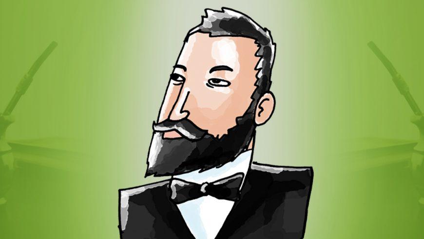 Ilustração. Fundo em tons de verde, com uma imagem de chimarrão de cada lado. Ao centro, o barão do Serro Azul. Ele é branco, tem cabelo curto, barba curta e bigode pretos. Está vestido com um terno preto, camisa branca e gravata borboleta preta.