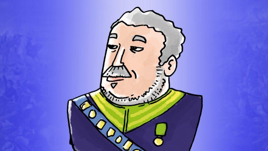 Ilustração. Fundo em tons de roxo com o centro mais claro. No centro, uma ilustração de Duque de Caxias. Cabelos brancos encaracolados vestido com blazer azul marinho,