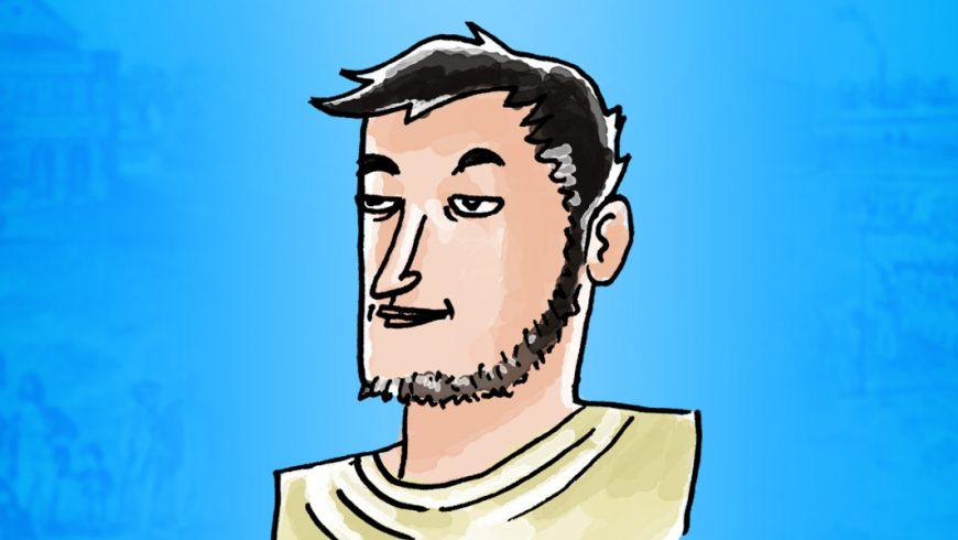 Ilustração. Fundo em tons de azul, com o centro mais claro. Ele é branco, cabelo curto preto, liso, barba curta, sem bigode. Veste camisa branca, sem gola.