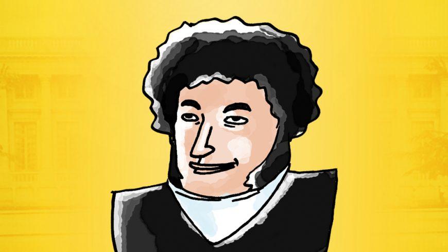 Ilustração. Fundo em tons de amarelo. Ao centro, desenho de Hipólito José da Costa, do tórax para cima. Hipólito é branco, tem cabelos cacheados. Veste casaco preto sobre camisa branca.