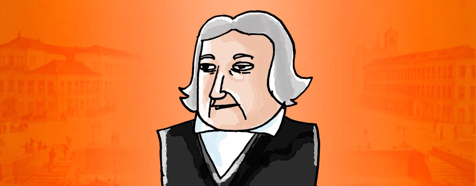 Ilustração. Fundo em tons de laranja com o centro mais claro. Sobre a parte mais clara, uma ilustração de Bonifácio. Ele é branco, cabelo liso, tamanho médio, é usado partido ao meio. Ele veste uma jaqueta preta e camisa branca.