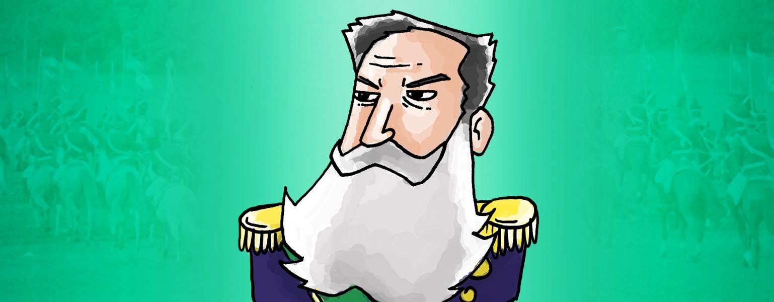 Ilustração. Fundo em tons de verdes, com o centro mais claro. Sobre a parte mais clara, um desenho do busto de Marechal Osório. Ele é branco, tem cabelos e longa barba brancos. Usa uma jaqueta azul marinho,com ombreiras externas amarelas.