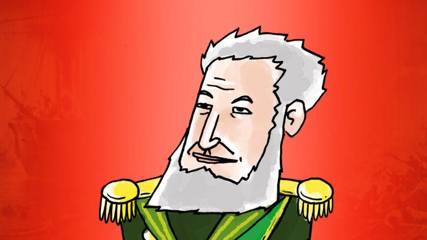 Ilustração. Fundo vermelho, com bordas mais escuras. No centro, uma ilustração do Marquês de Tamandaré. Ele tem cabelo e barba branca, mas não tem bigode. Usa uma veste do exército em tom verde com ombreiras externas amarelas. Cruzadas sobre o peito, faixas em verde e amarelo.