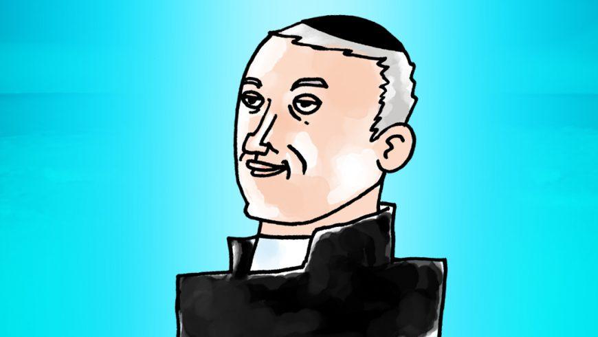 Ilustração. Fundo em tons de azul. Ao centro, um desenho de Padre Anchieta, do tórax para cima. Anchieta é branco, cabelos curtos e grisalhos. Ele usa roupa e solidéu pretos.