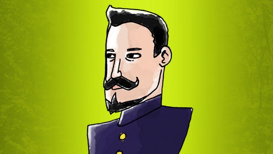 Ilustração. Fundo em tons de verde, com uma parte mais clara ao meio. Ao centro, sobre a parte mais clara, uma ilustração de Plácido de Castro. Ele é branco, tem cabelo, bigode e cavanhaque pretos. Veste uma jaqueta azul marinho, fechada até o pescoço, com botões dourados.