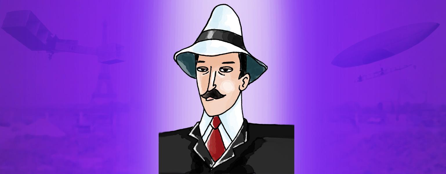 Ilustração com fundo roxo e o centro mais claro. Sobre a parte mais clara, Santos Dumont usa um chapéu branco de abas curtas, com uma faixa preta no meio. Ele tem bigode. Está de paletó preto, camisa branca e gravata vermelha