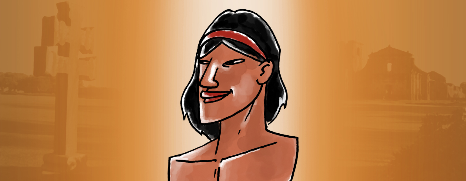 Ilustração, Fundo em tons de marrom, com o parte central mais clara. Ao centro, a ilustração de um índio. Homem de pele morena, cabelos pretos, lisos, partidos ao meio, com uma faixa vermelha que prende a parte da frente. O homem está com o peito nu.