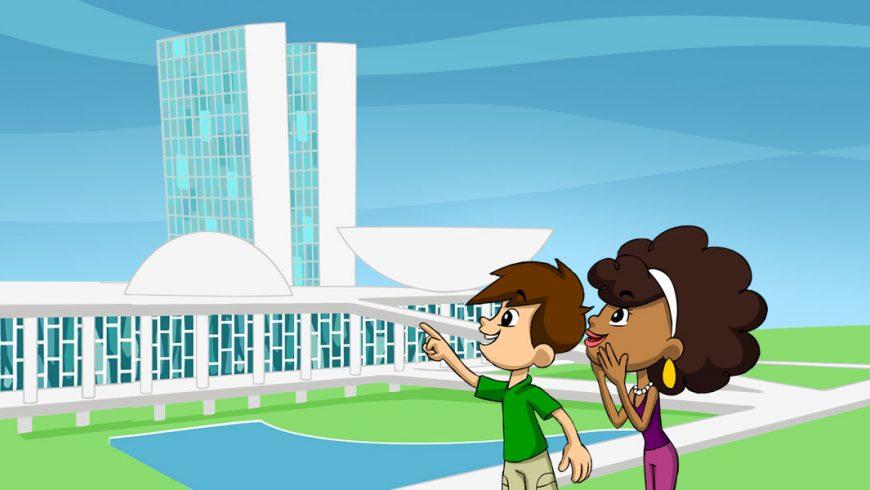 Ilustração. Ao fundo, vê-se o Congresso Nacional, num dia em que o céu está azul e o gramado em frente ao Congresso está verdinho. Ao centro, Zé Plenarinho e Légis, olham e apontam para o prédio.