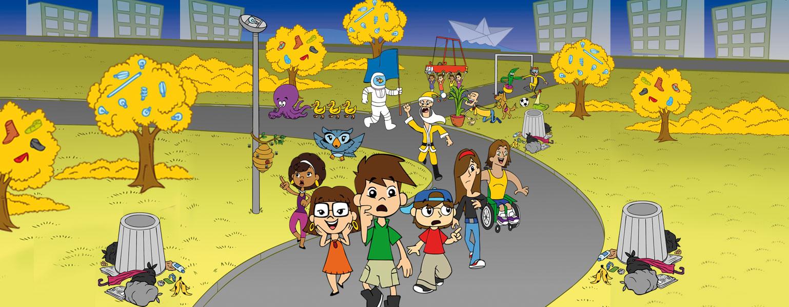 A Turma, tendo Zé a frente, ladeado por Xereta e Adão, caminham por uma rua de uma cidade estranha. Latas de lixo estão de cabeça pra baixo e o lixo está no chão, na copa de árvores amarelas, no lugar de frutas, sapatos, lâmpadas. Atrás deles, vem um homem que parece um Papai Noel, mas é magro e está vestido de amarelo. Mais ao fundo, um polvo roxo é seguido por três patinhos amarelos, um astronauta tem água e peixe dentro do seu capacete. Um home de coleira é puxado por um cachorro e come as folhas de uma planta que estão num jarro. Quatro homens carregam, na cabeça, um carro sem rodas. Um barco de papel, flutua no mar.