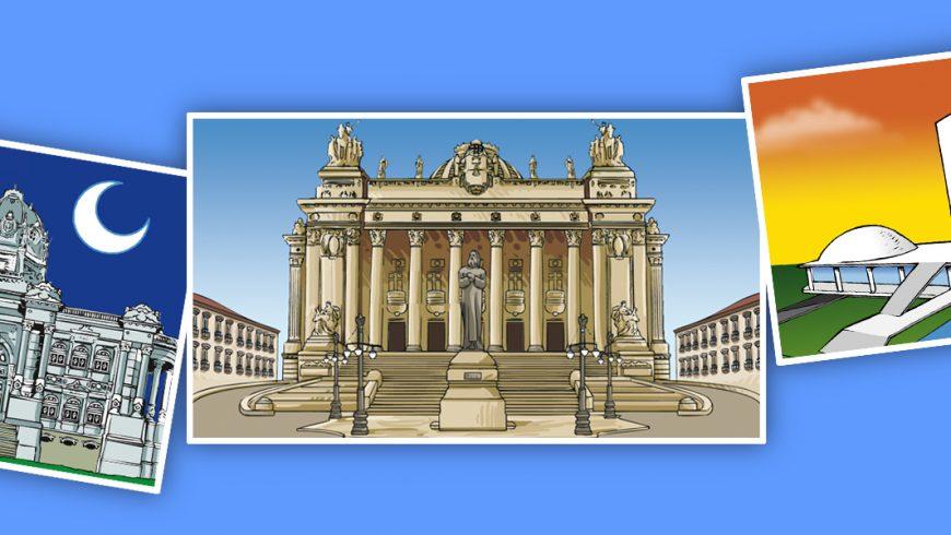 Ilustração. Fundo azul. Três imagens não alinhadas, retratam as diferentes sedes da Câmara. Palácio Monroe, Palácio Tiradentes e Congresso Nacional.