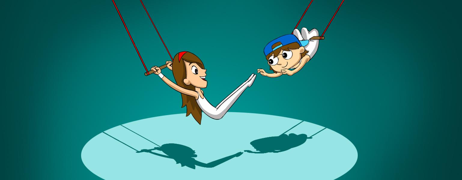 Ilustração. Fundo azul petróleo. Um luz com o foco no centro da imagem, ilumina Cida e Adão que estão balançando em um trapézio. Cida segura o trapézio e Adão está pulando para agarra o seu pé.