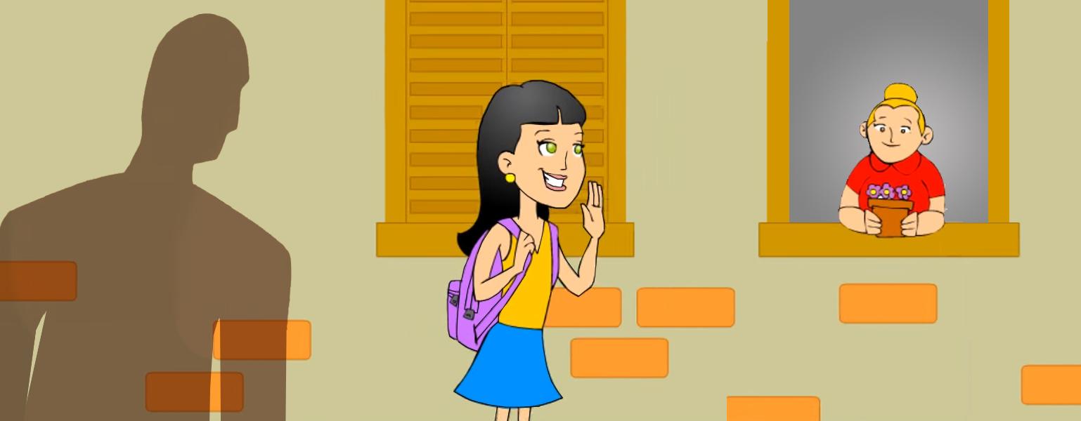 Ilustração. Ao fundo, a parede de uma casa, com alguns tijolos à mostra e duas janela. Uma delas está aberta e uma mulher loira, de camisa vermelha olha pra rua. Ao centro, Isabela Todabela, uma menina de 11 anos, cabelos negros, saia azul, camiseta amarela e mochila lilás, acena para a moça da janela. Atrás de Isabela, a sombra de um home parece persegui-la.