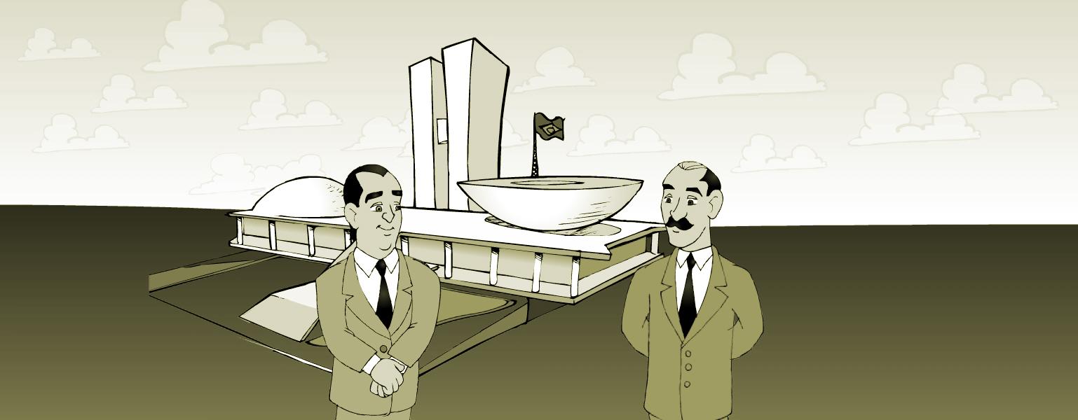 Ilustração em preto e branco. Ao fundo, vê-se o Congresso Nacional. Na frente, Oscar Niemeyer e Lúcio Costa, ambos vestindo terno, camisa branca e gravata preta, olham para o prédio. Oscar está com as mãos cruzadas na frente da cintura. Ele tem cabelos escuros, sobrancelhas grossas. Lúcio Costa é careca, tem cabelos apenas nas laterais da cabeça e tem um bigode espesso. Ele está com as mãos cruzadas atrás das costas.
