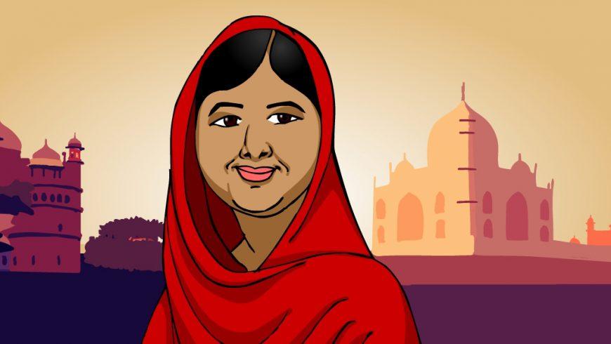 Malala tem pelo morena, cabelos negros partido de lado. Usa lenço vermelho que cobre seus cabelos e ombros. Ao fundo, no canto direito, vemos a imagem de uma mesquita