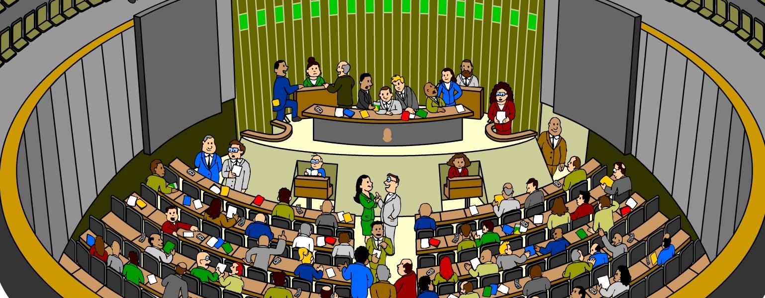 Ilustração. Plenário Ulysses Guimarães, na Câmara dos Deputados, com vários deputados e deputadas à Mesa, na tribuna, nos corredores e assentos.