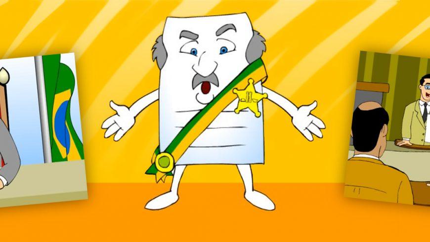 """Ilustração com fundo em tons de amarelo. No centro está o personagem chamado Projeto de Lei delegada. Ele é uma folha de papel retangular com duas pernas, braços abertos na altura da cintura, uma faixa verde e amarela que vai de um ombro até a cintura e passa pela frente do peito. Do lado da faixa, uma estrela de cinco pontas amarela com a imagem do Congresso Nacional. Ele tem cabelos grisalhos dos lados da cabeça, bigode e sobrancelhas cinzentos. Os olhos são azuis e a expressão é de quem explica algo para alguém. Do lado esquerdo da imagem, um quadrado menor mostra um homem de terno cinza e faixa verde e amarela, que está sentado em uma cadeira de forro vermelho, do lado da bandeira do Brasil. Ele assina uma folha de papel onde está escrita a palavra """"autorização"""". Do lado direito da imagem, um quadrado pequeno mostra um homem de pé na tribuna de um plenário. Ele usa óculos e lê um papel que segura com uma das mãos. Na frente do homem, dois homens sentados o observam."""