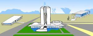 Ilustração. Ao lado esquerdo da imagem está o Palácio do Planalto. Sobre grama verde e centralizado no fundo está o Congresso Nacional. Ao lado direito está o Supremo Tribunal Federal.