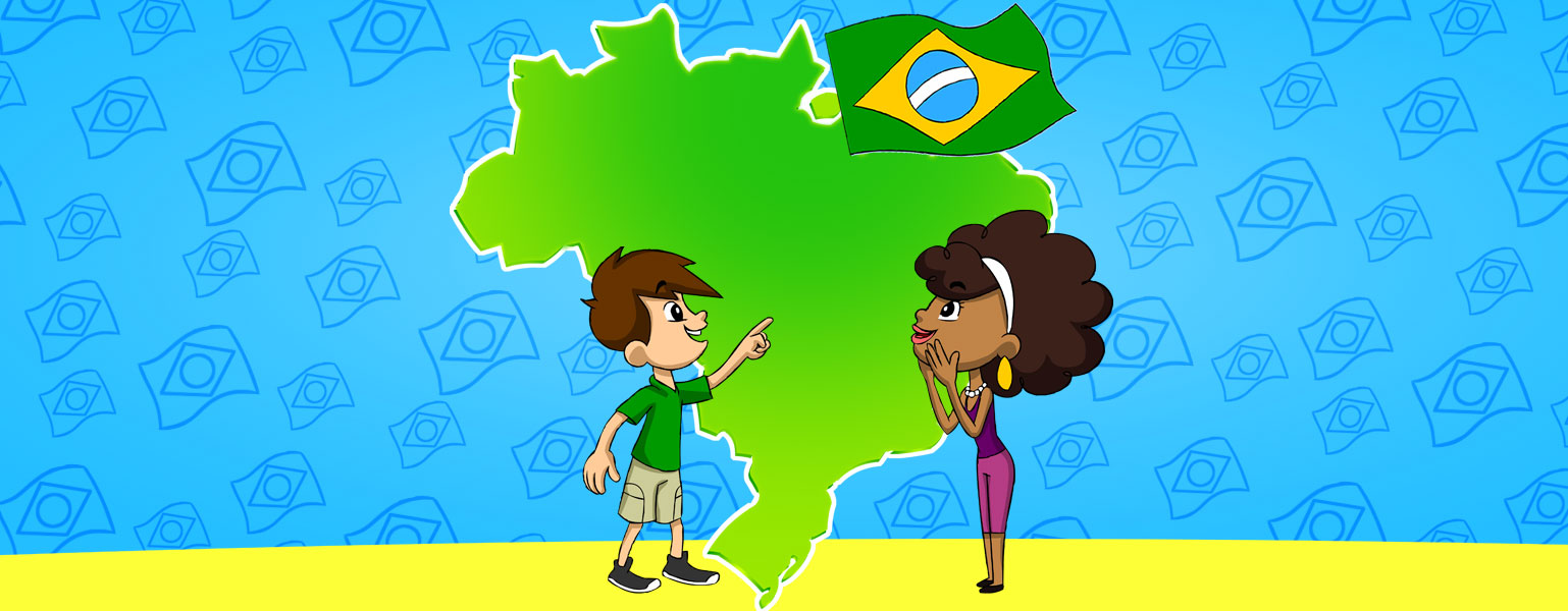 Ilustração. O funco é azul-claro e o contorno de várias bandeiras do brasil em azul escuro estão espalhadas pelo fundo. No centro, um desenho do mapa do Brasil em verde e, no canto superior direito, uma bandeira do Brasil pequena. No centro da imagem, Zé Plenarinho e Ana Légis olham admirados para o mapa.