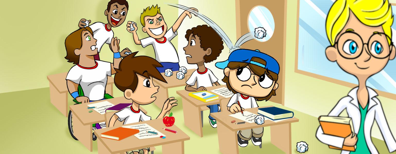 Ilustração. Em uma sala de aula, a professora está de costas para os alunos. Zé Plenarinho e Adão estão sentados nas cadeiras da frente e parecem incomodados. Dois alunos sentados no fundo da sala jogam bolas de papel nos colegas da frente.