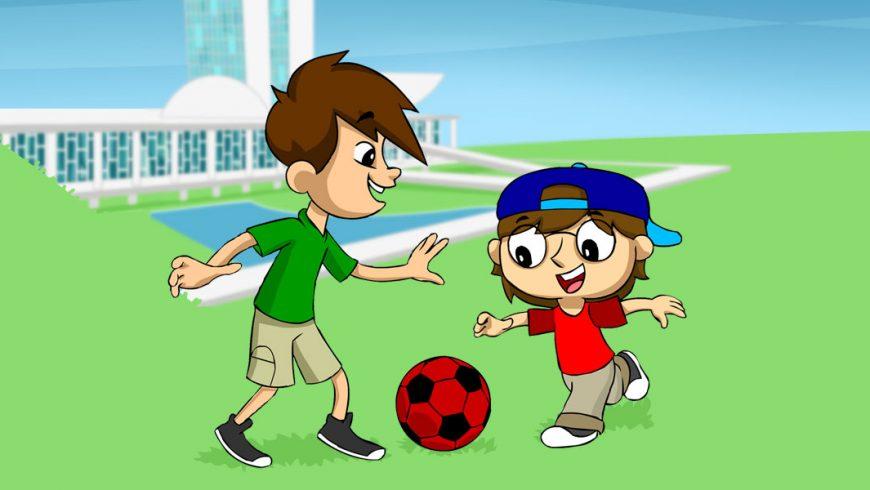 Ilustração. Fundo com desenho do Congresso Nacional. O céu azul e grama em tom claro de verde. No meio da imagem, Zé Plenarinho e Adão brincam com uma bola de futebol vermelha com detalhes pretos.