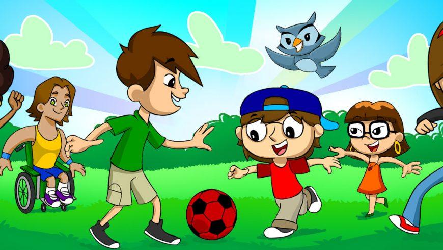 Ilustração. O fundo mostra ceu azul e árvores verdes. Na frente do fundo, sobre a grama verde, a Turma do Plenarinho joga futebol com uma bola vermelha com detalhes pretos. Da esquerda para a direita: Légis, Vital, Zé Plenarinho, Adão, Xereta e Cida. Edu Coruja voa por cima da turma.