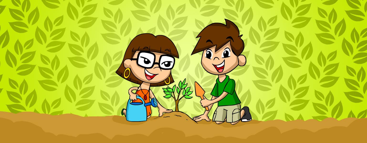 Ilustração. Fundo verde claro, com folhas em um verde mais escuro. Xereta e Zé está sentados na areia, plantando um árvore pequena. Xereta segura um regador azul e Zé segura uma pá cor de laranja