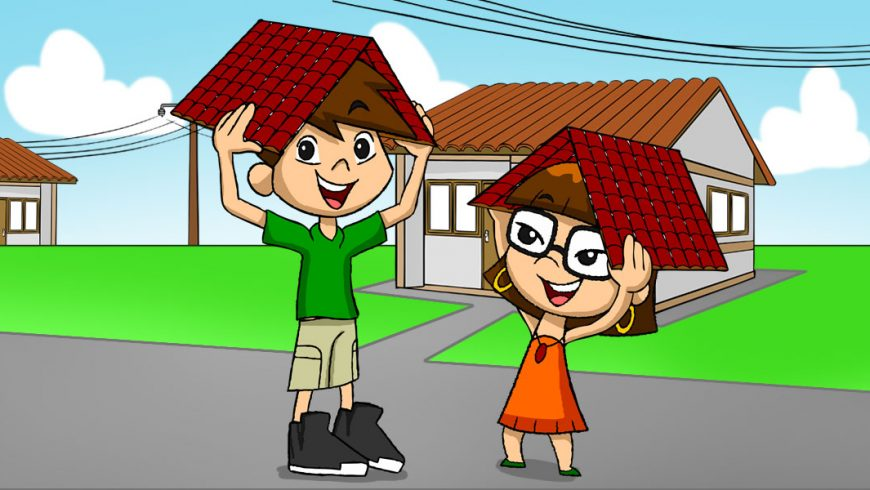 Ilustração. Fundo com céu azul, postes com fios elétricos e casas cinza com telhado marrom. No centro da imagem estão Zé Plenarinho e Xereta. Com as duas mãos, cada um segura um telhado vermelho sobre a cabeça.