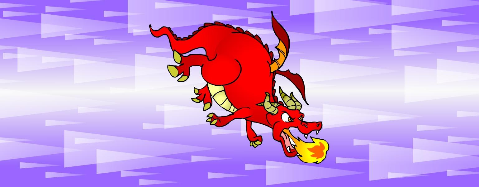 Desenho de um grande dragão. Ele é vermelho, a barriga é amarela com listras horizontais, tem quatro patas com garras amarelas e tem uma cauda comprida. Tem duas asas pequenas nas costas, cinco chifres amarelos grandes: um no meio da testa e dois de cada lado da cabeça. Seus olhos amarelos têm expressão de raiva. Sr. Quentão voa sobre um fundo em tons de roxo e, de sua boca sai uma labareda de fogo amarelo com o centro cor de laranja.