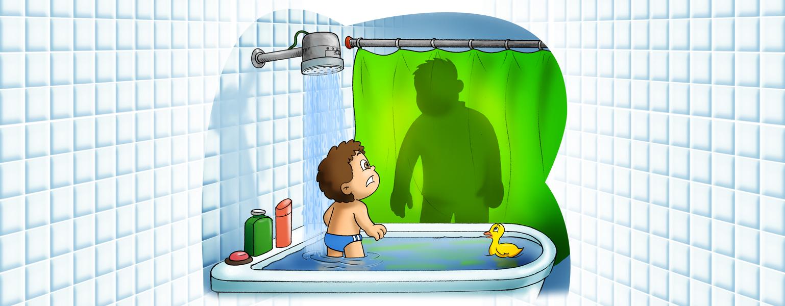 Ilustração de um banheiro, com azulejos quadrados brancos. No centro, uma banheira branca cheia de água. Um menino de sunga azul está embaixo do chuveiro, de onde escorre bastante água. Ele olha com medo para uma sombra que se forma na cortina verde. A sombra parece ser de um homem.