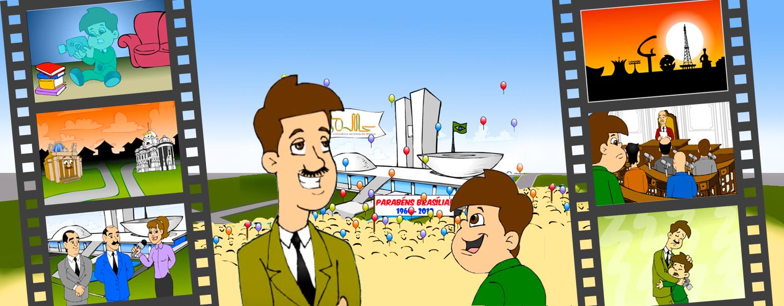 Ilustração. Ao fundo, o Congresso Nacional e uma multidão de pessoas com faixas dando os parabéns a Brasília. Balões sobem ao céu. Na frente, Zé Plenarinho conversa com seu avô que tem cabelos castanhos, bigode e está vestido com um terno verde, camisa branca e gravata preta.