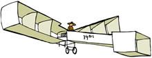 Ilustração do avião 14-bis. É branco e tem formas quadradas.