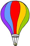 Desenho de um balão de ar nas cores: roxo, azul, vermelho, amarelo e verde.