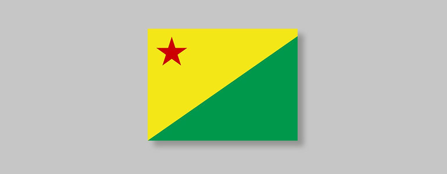 Bandeira com corte diagonal do canto superior direito até o canto inferior esquerdo. A metade abaixo da linha diagonal é verde e a metade de cima é amarela, com uma estrela vermelha no canto superior esquerdo.