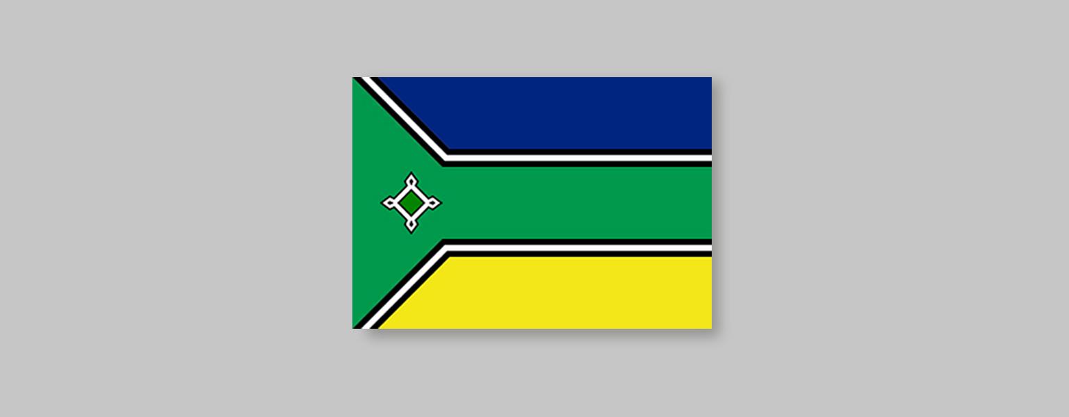 Retângulo horizontal. Duas faixas formadas duas linhas pretas e uma branca entre elas cortam a bandeira horizontalmente da direita para a esquerda dividindo a bandeira em três partes iguais. As faixas seguem retas até a quarta parte da bandeira, do lado esquerdo, onde a de cima segue para o canto superior esquerdo e a de baixo, segue para o canto inferior esquerdo. A área entre essas faixas é verde. A parte acima dela, é azul e abaixo, amarela. Centralizada verticalmente posicionada na área verde à esquerda da bandeira, há uma figura geométrica como um losango estilizado, que representa uma fortaleza.