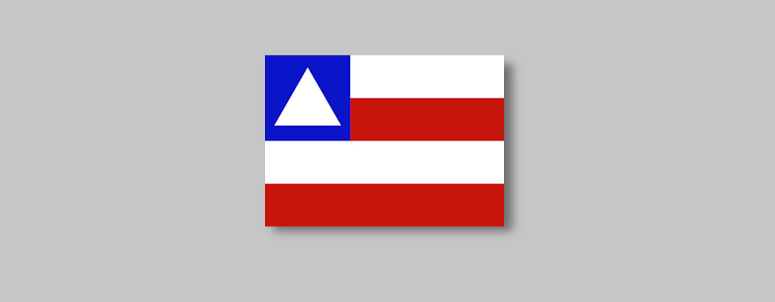 Quatro faixas horizontais de igual tamanho se intercalam nas cores branca e vermelha, sendo a superior branca. No canto superior esquerdo, um quadrado azul tem no centro um triângulo branco com a ponta para cima.