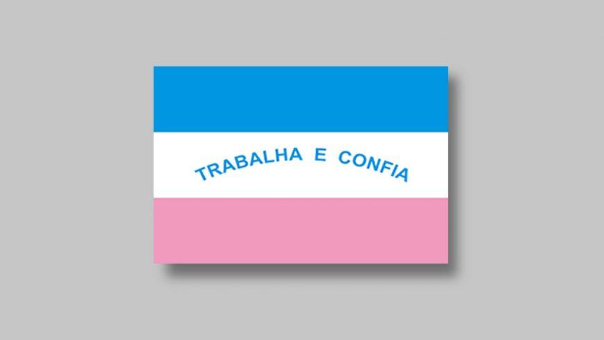 """Composta por três faixas horizontais de igual tamanho, nas cores azul, branca e rosa (de cima para baixo). Na faixa branca do centro, a frase """"Trabalha e Confia"""" na cor azul."""
