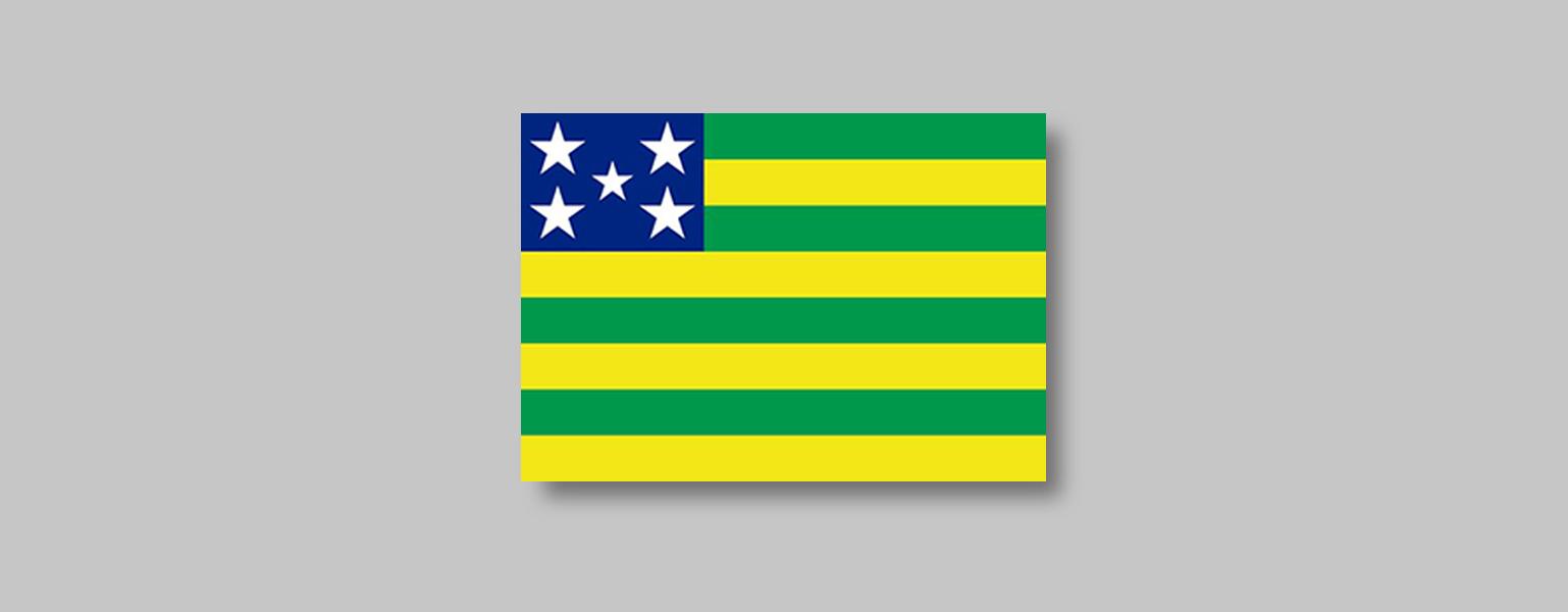 Forma retangular com oito listras horizontais, quatro amarelas e quatro verdes, intercaladas. No canto superior esquerdo da bandeira há um retângulo azul com cinco estrelas brancas. Quatro dessas estrelas são maiores, dispostas uma em cada canto do retângulo, e há uma estrela menor no centro.