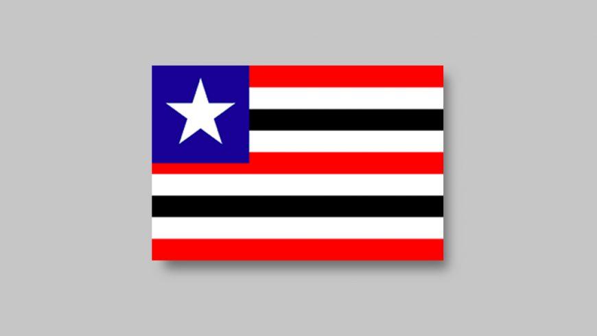 Composta por nove listras em sentido horizontal, a primeira, de cima para baixo, é vermelha, a segunda é branca e a terceira é preta. O padrão de cores segue até a última listra. Há um quadrado azul no canto superior esquerdo, que ocupa um terço da largura e metade da altura da bandeira. No centro do quadrado azul, há uma estrela branca de cinco pontas.