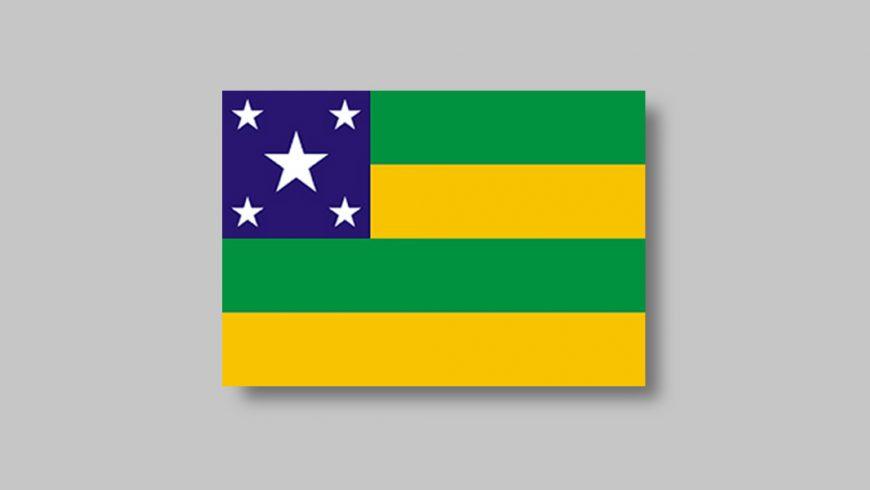 Retângulo dividido em quatro faixas horizontais nas cores verde e amarela, alternadamente, sendo a primeira de cima para baixo na cor verde. No canto superior esquerdo está disposto um retângulo azul que ocupa um terço da largura e metade da altura da bandeira. Dentro dele há cinco estrelas brancas, uma em cada canto e uma maior no centro.
