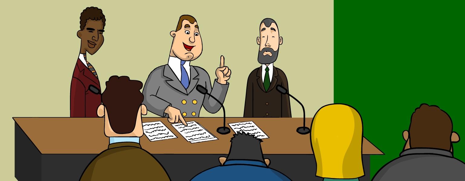 Ilustração. Ao fundo, uma parede bege e verde. Ao Centro, dois homens, vestidos com terno e gravata, estão sentados atrás de uma bancada com dois microfones. Um deles está com o dedo levantado e fala o microfone. Ao lado do homem que fala, há um outro homem, negro, vestido com um terno vinho, que assiste, de pé, a fala do outro. Na parte da frente da imagem, vêem-se cabeças de pessoas que também assistem à fala do homem.