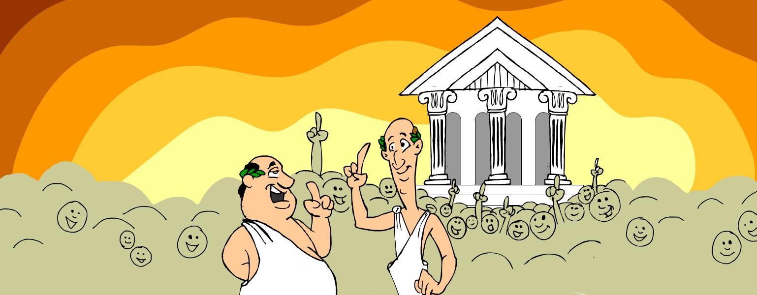 Ilustração. Templo branco com arquitetura da Grécia antiga está sobre o fundo em tons de laranja e amarelo. Desenhos com rostos em tom de marrom aparecem na frente do templo, uns com o dedo indicador apontando para cima. Dois homens estão posicionados no centro da imagem e apontam com o dedo indicador para cima: o homem do lado esquerdo tem os cabelos pretos e usa pedaços de folhas atrás das orelhas. Veste traje branco da Grécia antiga com uma alça sobre um dos ombros. O homem do lado direito tem os cabelos castanhos claros e usa atrás das orelhas pedações de folhas verdes. Veste um traje branco da Grécia antiga com duas alças nos ombros.