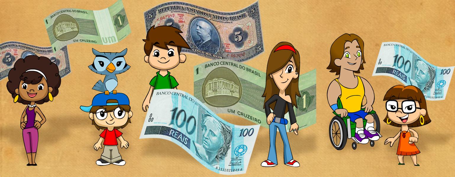 Ilustração com fundo marrom. Espalhadas pela imagem há seis notas de dinheiro: Cruzeiro e real. No centro, a Turma do Plenarinho está entre as notas.