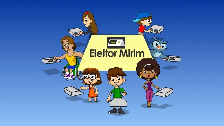 """Ilustração com fundo azul. No centro, uma forma geométrica amarela com as palavras """"Eleitor Mirim"""" no centro e a imagem de uma urna eletrônica acima das palavras. Em volta da forma geométrica estão os personagens da Turma do Plenarinho. Cada um deles tem uma urna eletrônica na frente e todos votam e sorriem."""