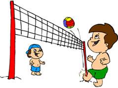 Ilustração. Uma rede de futevôlei de postes vermelhos. De um lado da rede, Zé Plenarinho. Do outro, Adão. os dois de short sem camisa jogam uma bola de futevôlei azul, amarela, vermelha e verde.