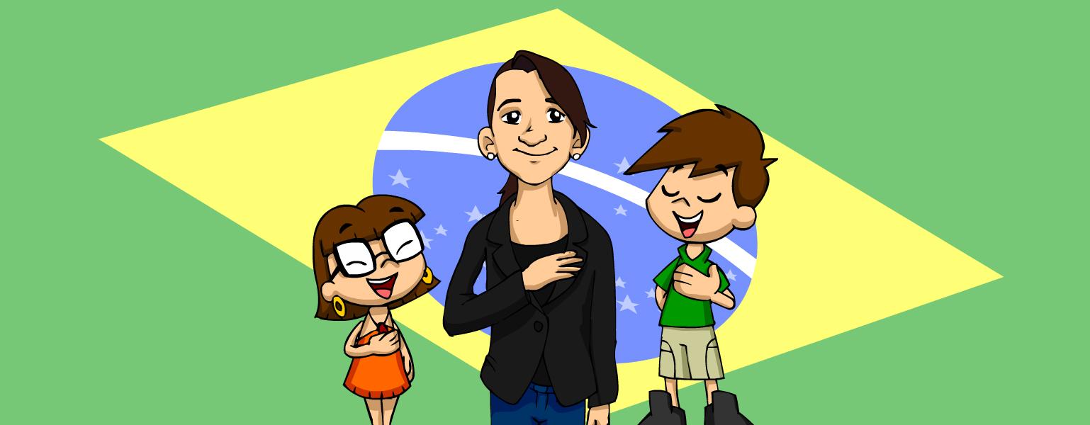 Ilustração. O fundo da imagem é a bandeira do Brasil. No centro da imagem, aparece uma menina de cabelos pretos presos atrás da nica. Ela tem olhos castanhos, nariz arredondado e um leve sorriso. Ela está com a mão direita apoiada do lado esquerdo do peito. Do lado direito, Zé plenarinho também tem a mão apoiada no peito e está com olhos fechados enquanto canta, assim como Xereta, que está do lado esquerdo.