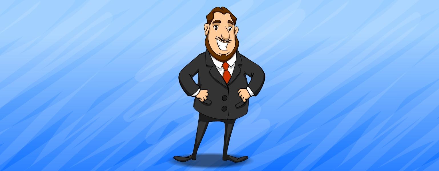 Desenho de um homem de rosto grande e redondo, cabelos curtos, castanhos e repartidos no meio. Ele Tem olhos castanhos, nariz grande e arredondado na ponta. Abaixo do nariz, um bigode fino. Tem queixo largo e barba castanha que vai de um lado a outro do rosto, sem emendar com o bigode. Honestinho veste Terno cinza escuro, camisa branca e gravata vermelha. Ele tem pernas finas e tronco largo. Sorri e apoia as duas mãos na cintura.