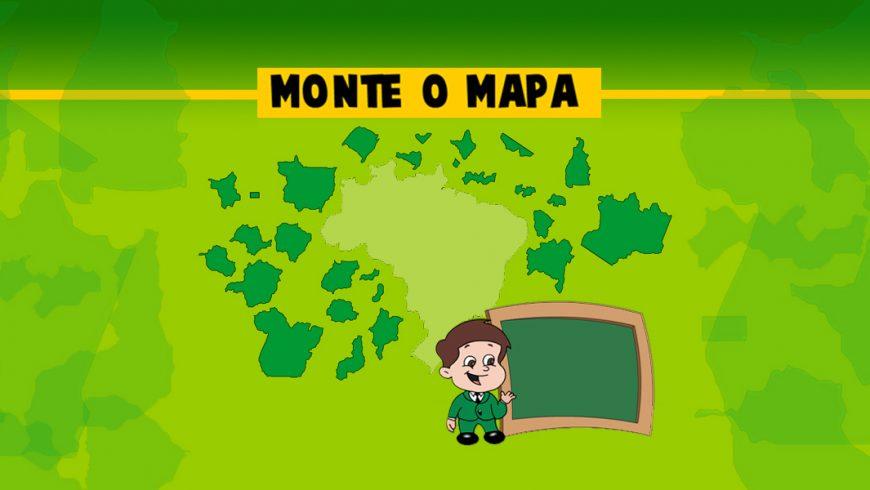 """Ilustração. O fundo é em tons claros de verde. Na parte de cima da imagem, uma faixa amarela fina atravessa de um lado a outro. No centro, a faixa é mais grossa e, dentro dessa parte mais grossa, as palavras """"monte o mapa"""" aparecem em preto. No centro da imagem, o mapa do brasil aparece em verde bem claro e, ao lado do mapa, os estados do Brasil em verde mais escuro estão espalhados. Abaixo do mapa, Zé plenarinho segura um grande quadro verde com moldura marrom."""