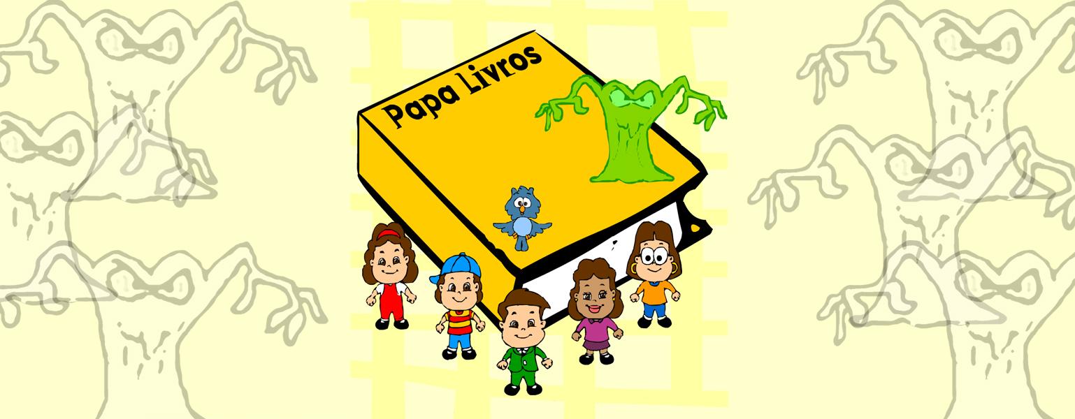 """Ilustração. O fundo é em tom claro de amarelo e de cada lado, aparece a silhueta de um grande monstro com olhos assustadores. No centro, um grande livro de capa amarela com o título """"Papa livros"""" em preto. Em cima do livro, está um monstro igual aos que estão no fundo, mas um pouco menor e verde. Na frente do livro, a Turma do Plenarinho sorri."""