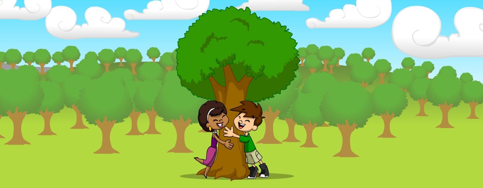 Ilustração. Fundo com árvores, céu azul e nuvens brancas. No centro, Légis e Zé abraçam uma das árvores.
